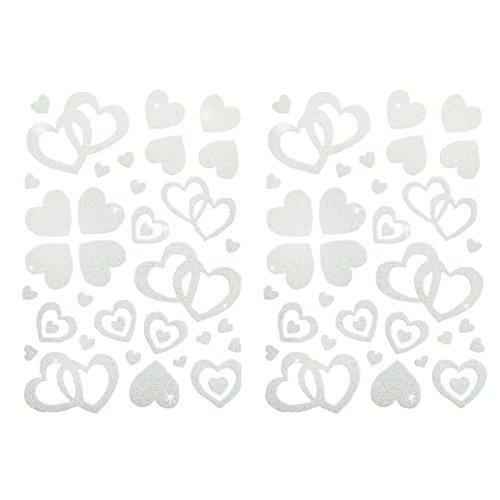 Oblique Unique® 100 Stück Herzen Sticker in Rot, Gold, Silber, Pink, Rosa, Türkis, Lila oder Weiß - Glitter Glitzernde Herzen (Weiß)