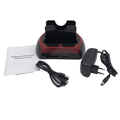 Kurphy Estación de Acoplamiento de HDD Multifuncional USB Dual 2.0 2.5/3.5 Pulgadas IDE SATA Caja de HDD Externa Unidad de Disco Duro Gabinete Lector de Tarjetas - Enchufe UE Negro y Rojo