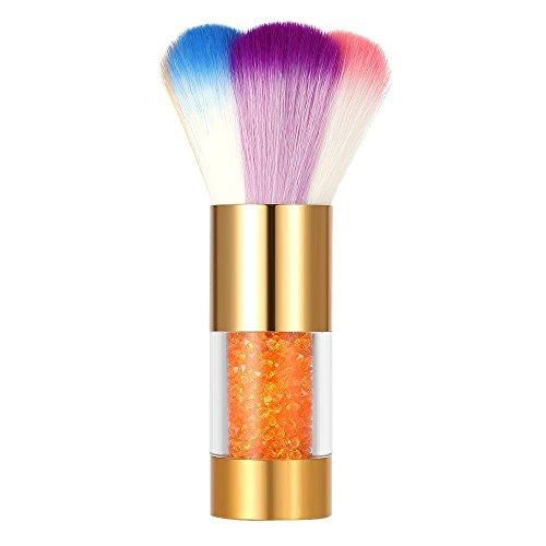 Valuu Brosse à poussière colorée pour nail art - Pour ongles en acrylique et gel UV, strass, fond de teint (doré)