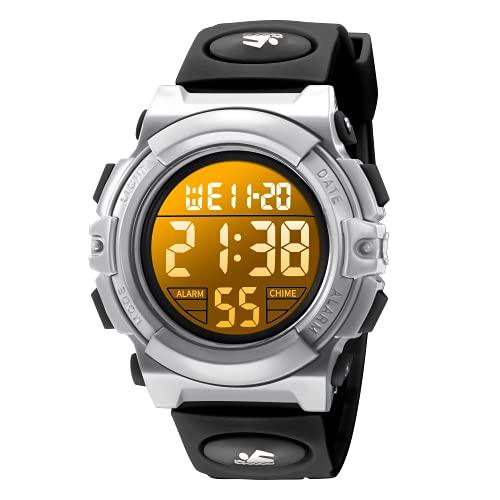 Reloj Digital para Niños para Deportes al Aire Libre Multifunción Resistente al Agua Reloj Digital con Alarma LED y Fecha de Calendario para Niños de 6 a 15 Años