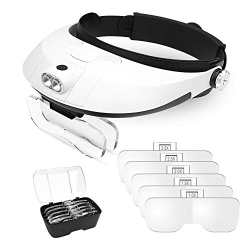 Outamateur Headband Lighted Magnifying Glasses with Led Light, Head Mount Magnifier Glasses Visor Handsfree Reading Magnifying Glasse