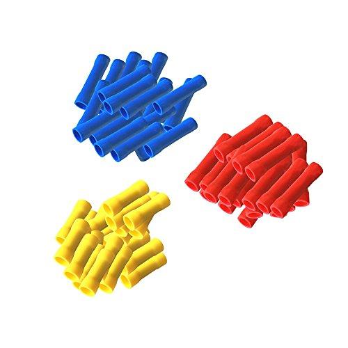 Stossverbinder isoliert 300 Set 100x Rot + 100 x Blau + 100 Gelb Stoßverbinder vollisoliert Crimpzange Quetschverbinder Kabelverbinder Crimp Zange Verbinder Kabelschuhe kfz ARLI