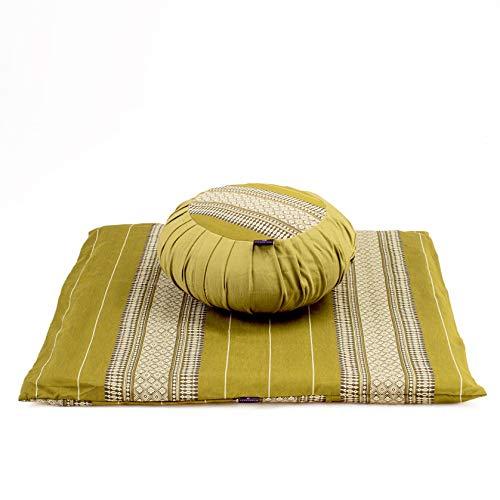 Leewadee Set de meditación con Funda – Cojín Zafu y colchoneta Zabuton de meditación y Yoga, Asiento tailandés de kapok Natural, Set de 2, Verde