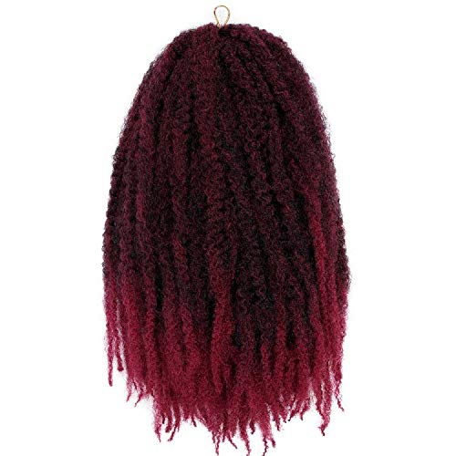 3Packs Marley Braid Hair Afro Twist Marley Crochet Hair 18Inch Ombre Kinkys Twist Braiding Hair Extensions 100g/Pcs (#1B/Bug)