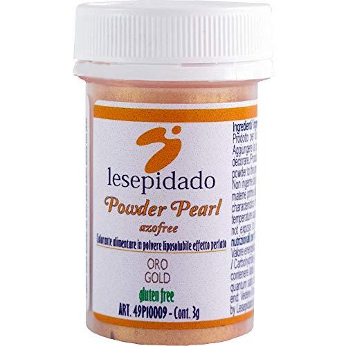 Colorante Alimentare Polvere Perlato 3g Oro. Ideale per composti trasparenti: gelatine o glasse. Per decorare pasta di zucchero, biscotti, torte, semifreddi, gelati