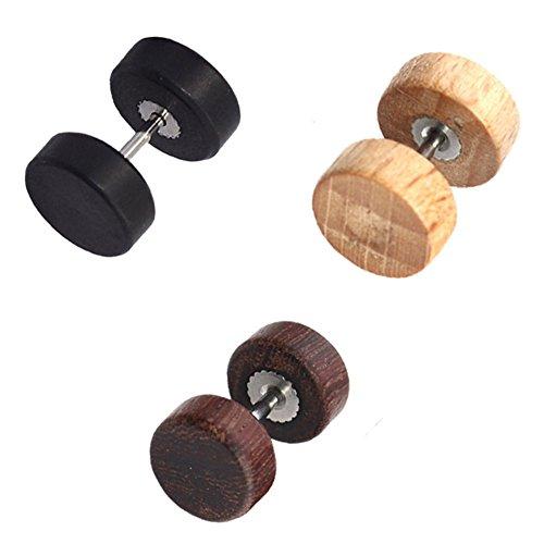 Pendientes de Hombre (3 piezas) 10mm Acero de...