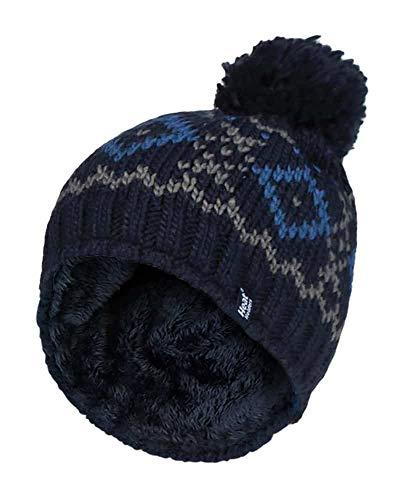 HEAT HOLDERS - Herren Winter Warm Fleece Mütze/Beanie mit Bommel (One Size, Navy/Blue)