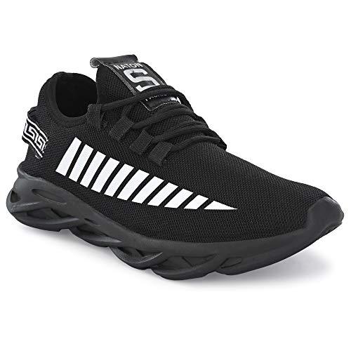 BUCADIA Men' S Running Sports Sneakers Shoes Black