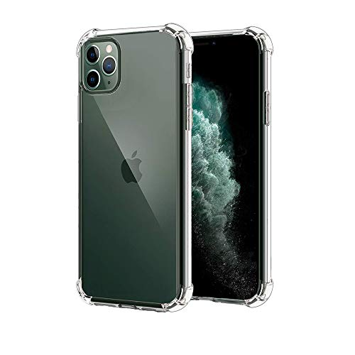 Amitaly per Cover iPhone 11 PRO Max 6.5, [Struttura Bombata Flessibile in TPU][Anti Graffio] [Anti Ingiallimento] Custodia Protettiva Ammortizzante per iPhone PRO Max, Trasparente