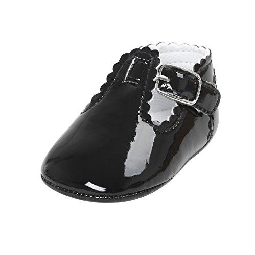Primeros Zapatos para Caminar,Auxma La Princesa del bebé Sola Suave Calza Las Zapatillas de Deporte del niño Zapatos Ocasionales (7-13 M, Negro)