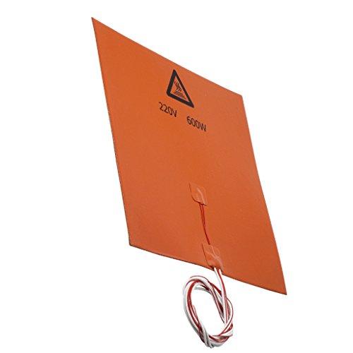 Baoblaze 220 V 600 Watt 300x300x3mm Silikon Heizmatte Hitzebett Druckplatte Silikon Heat Bed 3D Drucker Teile