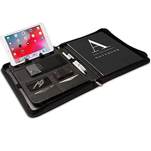 Portadocumentos A4 Premium con doble cremallera y compartimento de 13 pulgadas para la tableta, IPad Carpeta de Conferencias profesional de PU-cuero para hombres y mujeres