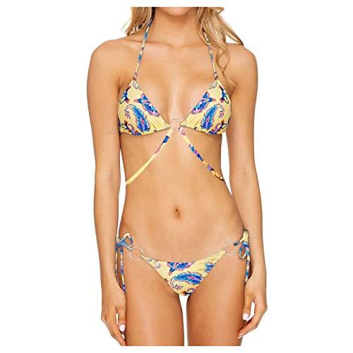 TIFIY 2021 Verano Mujeres Sexy Bandea Mujer Bikini con Cuello Halter Acolchado y Volante Acanalado de Cintura Alta y Traje de baño