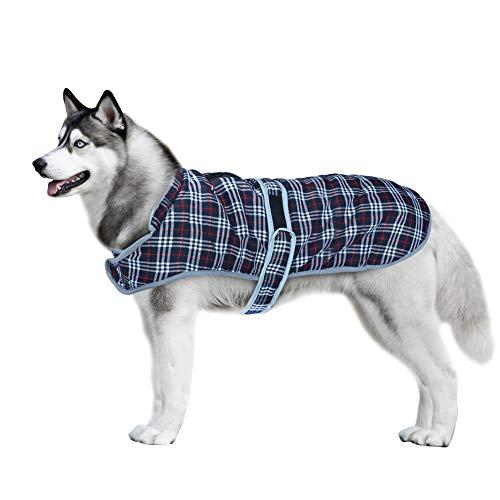 Beirui Classic British Plaid Dog Coats for Medium Large Dogs,Scottish Style Big Dog Vest Jacket, Warm Fleece Pet Clothes for Cold Weather, Black Chest 22-27''