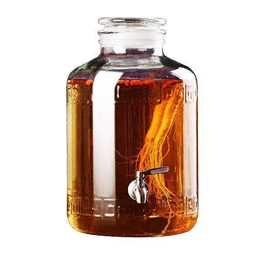FMOGE Dispensador de Bebidas | Tarro de Cristal | Dispensador de Bebidas frías |Base de Resina |Espita de Metal sin Fugas |Ronda |2.5L ~ 25L |Claro,Armarios de Vino