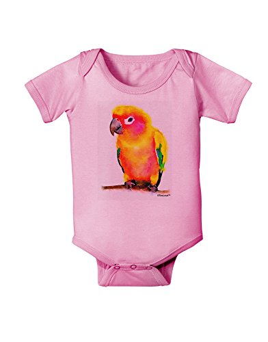 TOOLOUD Sun Conure Parrot Watercolor Baby Romper Bodysuit - Candy Pink - 18 Months