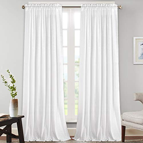 Natural Rich Linen Curtains Semi Sheer for Bedroom/Living Room/Dining | Rod Pocket Textured Flax Window Curtain Drapes Privacy Added Light Reducing Soft Curtains 2 Panels ( Off White, 52' W x 108' L)