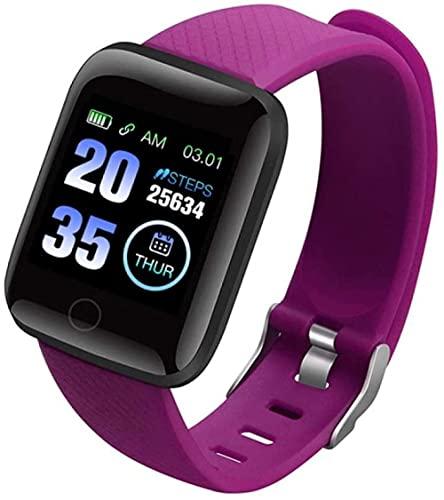 Reloj inteligente Relojes Inteligentes Frecuencia Cardíaca Más Hombres Smartwatch Fitness Tracker Pulseras Inteligentes Podómetro de Presión Arterial para IOS Android-Púrpura