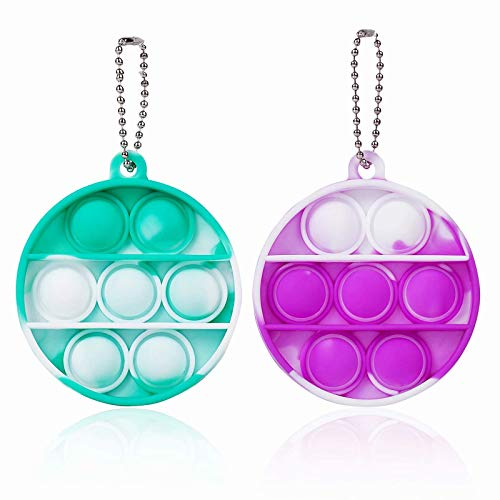 ZNNCO Push Pop Bubble Fidget Sensory Toys,Mini Fidget Poppers Keychain Toy,Autism Special Needs Stress Reliever for Kids Adults(Tie Dye Green+Purple Round)