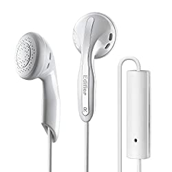 white earphones with a microphone for smartphone video