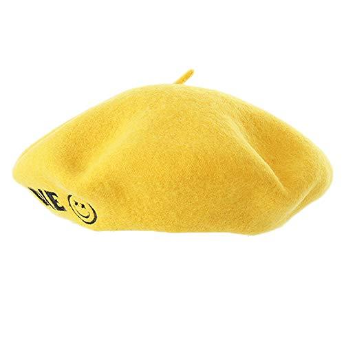 LMZXH&M Boina Amarilla Bordado Crochet Boina Cap Sombrero Femenino, Amarillo