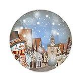 Juego de 1 manteles individuales redondos de Navidad para invierno, año nuevo, muñeco de nieve, 15 p...