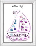 Taufe Boot personalisiert auf 29,7x42cm Poster, Fingerabdruck Boot Geschenk, Taufboot als Gästebuch Alternative, Fingerabdruckbaum, Taufgeschenke für Mädchen und Jungen, Taufe Segelboot