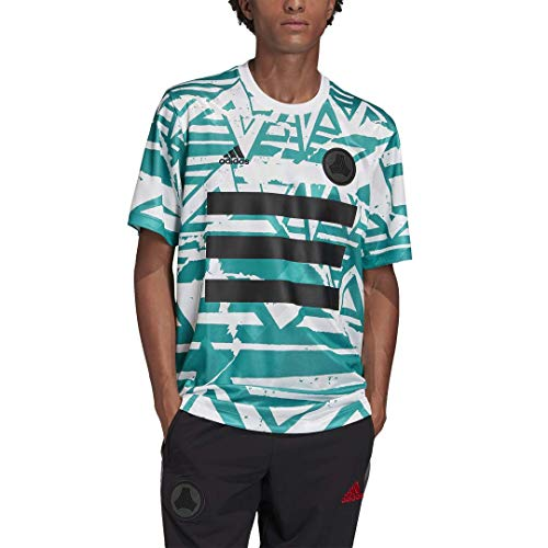 adidas Herren Trikot DNA Graphic No.10, Hellbraun, Herren, Hemd, Tan DNA Graphic No.10 Jersey, Weiß/Glory Green, Large