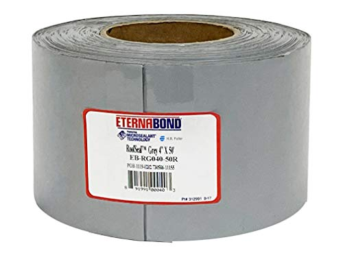 """EternaBond RoofSeal Gray 4"""" x50' MicroSealant UV Stable Seam Repair Tape   35 mil Total Thickness EB-RG040-50R - One-Step Durable, Waterproof and Airtight Repair"""