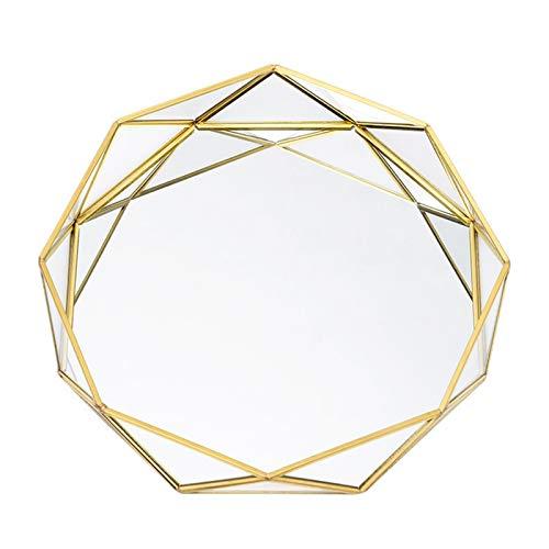Bandeja de Cristal Dorado con Espejo, Bandeja de Tocador de Metal Poligonal, Bandeja de Almacenamiento de Joyas/Cosmética/Perfume, Nórdico de Estilo Simple Bandeja Decorativa