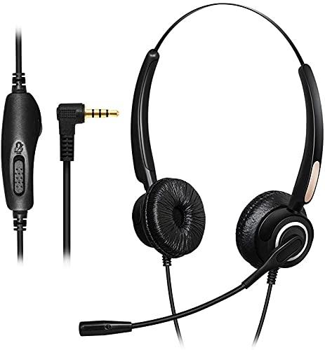 CPBY Auriculares Mono Reducción de Ruido Micrófono Control de Volumen 3.5 Mm Plug Pc Auriculares Teléfono Móvil Teléfono Inteligente Ordenador, Binaural