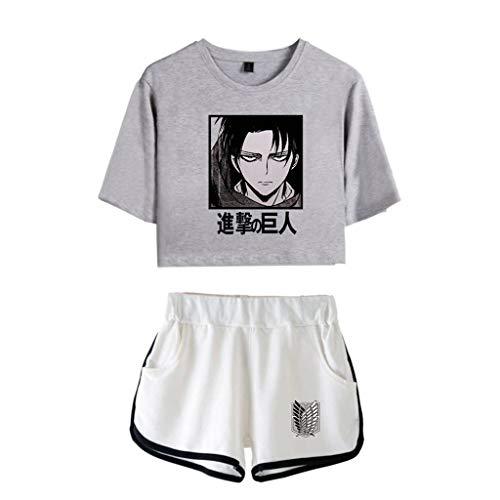 Attack on Titan Tshirt und Shorts Damen, Levi Ackermann AOT Scouting Legion Aufklärungstrupp T-Shirts und Kurze Hose Anime Cosplay Kurzarm Shirt Tops Trainingsanzug Cos Sportswear Set (B3,S)