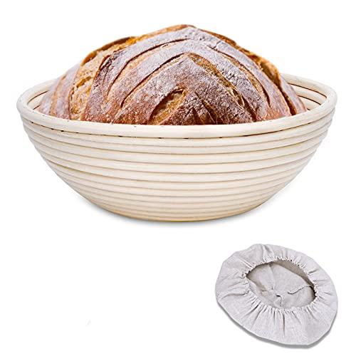 Clheatky Gärkörbchen Rund, ø 25 cm, Höhe 8.5 cm Gärkorb Set Aus Natürlichem Peddigrohr Proofing Basket Brotkörbchen Brotform für Brot Backen Fasst 1kg Teig mit 1 Leineneinsätze(Rund)
