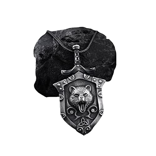 Celtic Bear Necklace for Men, Nordic Viking Bear Head Pendant Necklace Sword Shield Bear Necklace Pure Tin Men's Punk Bear Charm Necklace Jewelry Gift Father's Day Accessories