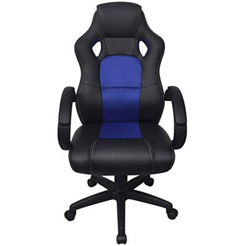 Tidyard Executive Racing Bürostuhl Blau Kunstleder Executive Chair Comfort Office Desk Chair PU Leather Chair Faux Leather Swivel Tilt Chair with Armrests, Ergonomic and Adjustable Height