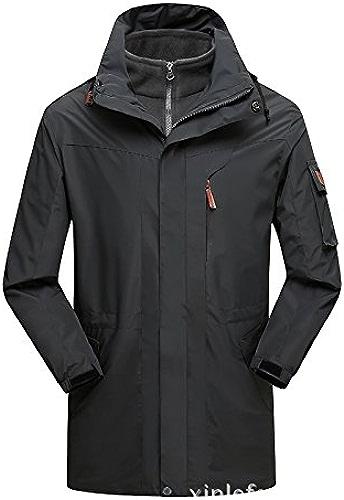DYF Ski hommes femmes Down veste Coat Couleur Unie Grande taille hommeches longues col,gris,5XL