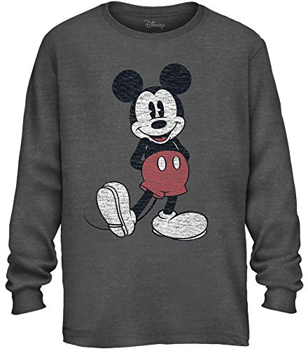 Disney Mickey Mouse Pose Men's Adult Graphic Long Sleeve Tee T-Shirt (Charcoal Heather, Large)