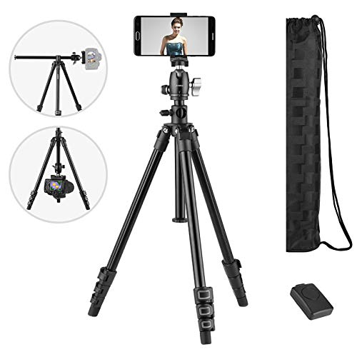 Andoer Camera Tripod,154cm / 61inches Aluminum Portable Tripod with 360 ° Panorama 3-Way Swivel Ball Head and Phone Clip, 1/4'' Mounting Screw,Compatible for Smartphone, DSLR Canon Nikon Sony