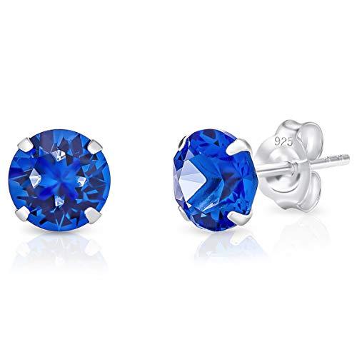DTPsilver® Semental Pendientes/Aretes de Plata de Ley 925 con Cristal Swarovski® Elements Redondo - Diámetro: 6 mm - Color: Zafiro Azul