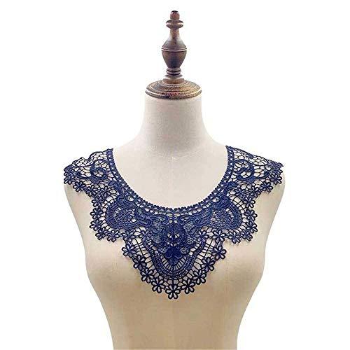 Hinleise Cuello de encaje bordado aplique hueco – 3D floral bordado escote,...