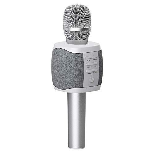 TOSING XR Micrófono de Karaoke Inalámbrico Bluetooth, Potencia de Volumen Más Alta 10W, Más Bajo, 3-en-1 Máquina de Micrófono Portátil de Altavoz Portátil para Android/PC (light grey)