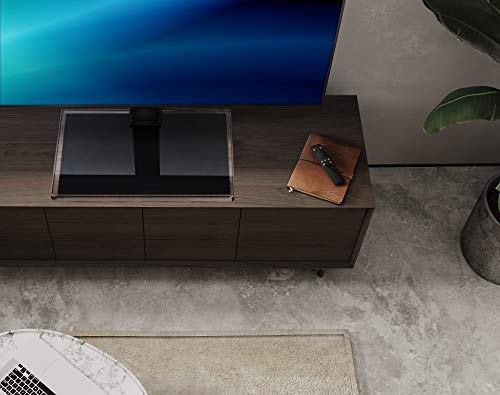 FITUEYES Universal TV Stand/Base Swivel Tabletop TV Stand with Mount for 50 to 85 inch Flat Screen TV 100 Degree Swivel, 4 Level Height Adjustable,Tempered Glass Base,Holds up to 143lbs Screens