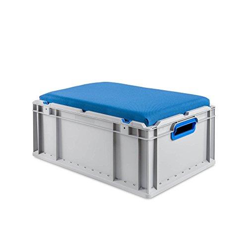 aidB Eurobox NextGen Seat Box, blau, (600x400x265 mm), Griffe offen, Sitzbox mit Stauraum und abnehmbarem Kissen, 1St.