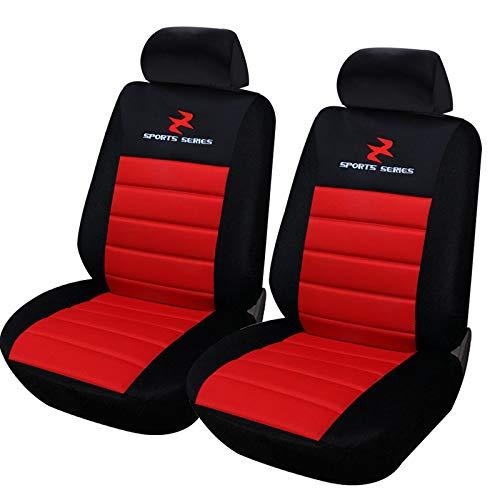 eSituro SCSC0078 2er Einzelsitzbezug universal Sitzbezüge für Auto Schonbezug Schoner Dicke gepolstert rot