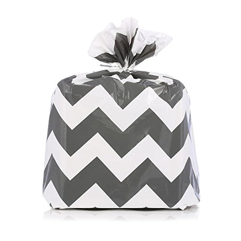 Reusable Dark Gray Chevron Zig-Zag Plastic Gift Wrap Bags - Reuse as Pretty Trash Bags - 4 Count - 21