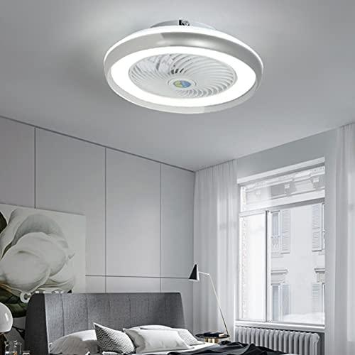 MJJLT Ventilador LED con Iluminación De Techo Luz Colgante De 36W Regulable con Control Remoto Velocidad del Viento Ajustable De 3 Velocidades Ventilador Silencioso Candelabros Sala De Estar White