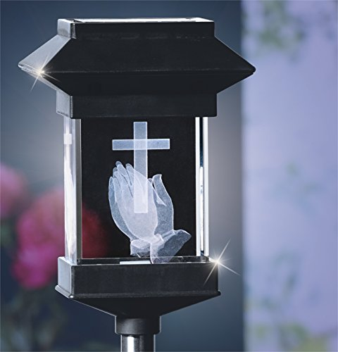 Crystal Light 14' Solar LED Memorial 3D Praying Hands by JUMBL