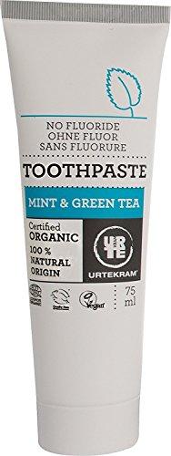 URTEKRAM Minze & Grüntee Zahncreme (4x75ml) naturkosmetische Zahnpasta ohne Fluorid, Bio und Vegan, fluoridfrei + frei von schädlichen Zusatzstoffen, Mint & Green Tea Toothpaste