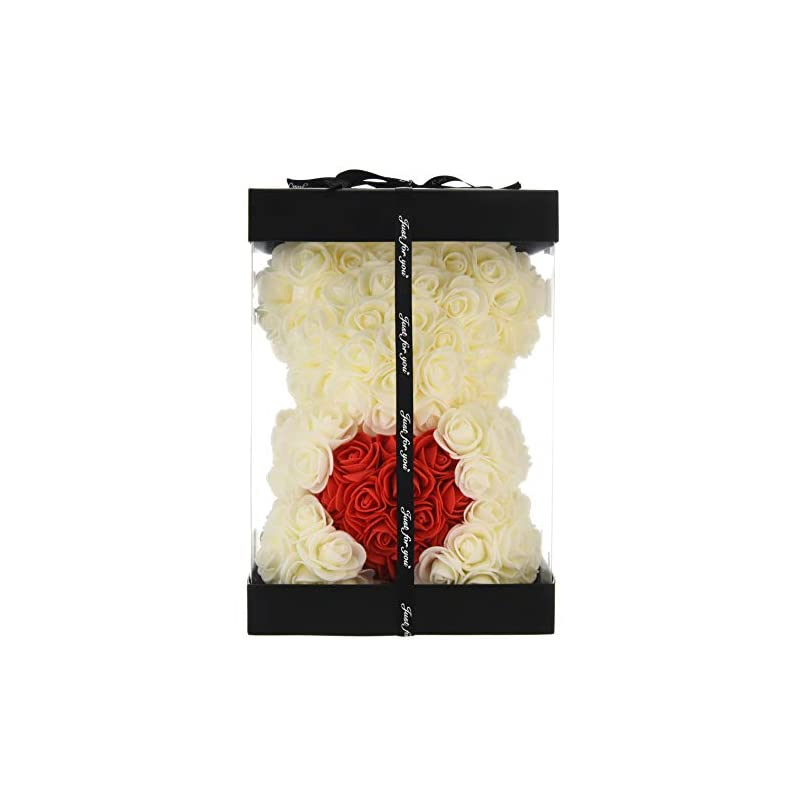 silk flower arrangements rose flower bear - fully assembled rose teddy bear - over 300 dozen artificial flowers - gift for mothers day, valentines day, anniversary & bridal showers gifts for girls women (mail white, 10inc)