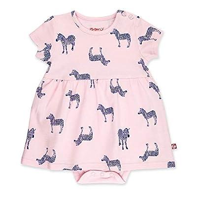 Zutano Baby Girl Organic Cotton Summer Dress, Pink Zebra/Romper, 3M